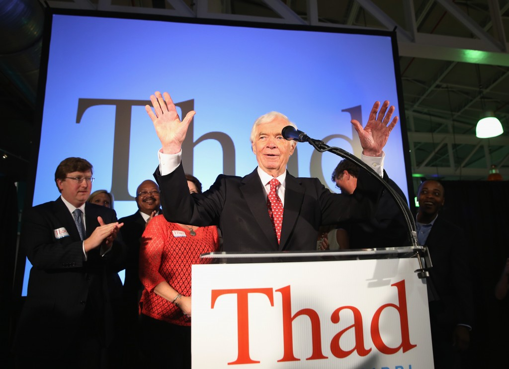 In a tight runoff primary, Sen. Thad Cochran, R-Miss., speaks to supporters during his victory party after a narrow victory over tea party candidate Chris McDaniel. Photo by Justin Sullivan/Getty Images