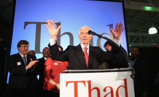 In a tight runoff primary, Sen. Thad Cochran, R-Miss., spoke to supporters during his victory party after a narrow victory over tea party candidate Chris McDaniel. Photo by Justin Sullivan/Getty Images