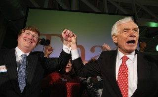 "U.S. Sen. Thad Cochran, R-Miss., speaks to supporters during his ""Victory Party"" after holding on to his seat after a narrow victory over Chris McDaniel on June 24, 2014 in Jackson, Miss. Photo by Justin Sullivan/Getty Images"