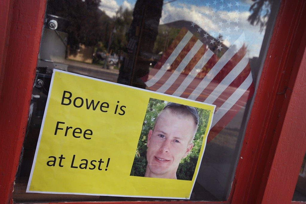 A sign announcing the release of Sgt. Bowe Bergdahl hangs in the window of a store in Hailey, Idaho, on June 1. Photo by Scott Olson/Getty Images