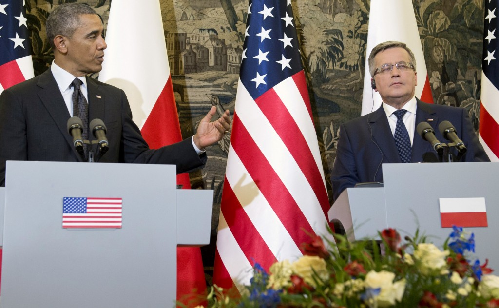 President Barack Obama speaks at a joint news conference with Polish President Bronislaw Komorowski and announced his intent to increase U.S. military presence in Europe.  Photo by Saul Loeb/AFP/Getty Images
