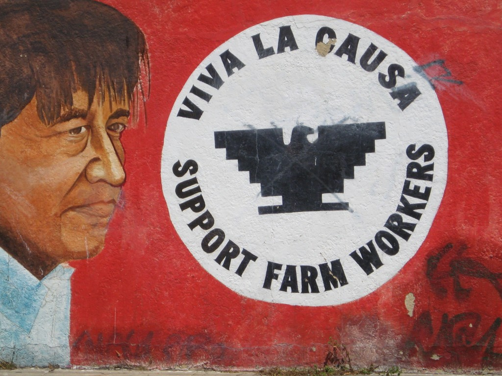 A mural of Cesar Chavez in San Fransico. Creative Commons photo by Andrea V. Grimes via flickr. https://www.flickr.com/photos/louripperts/7700813622