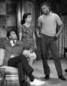 "Ruby Dee alongside -Louis Gossett and Sidney Poitier in ""A Raisin in the Sun"" in 1959. Photo by Friedman-Abeles"