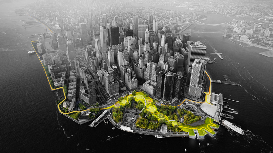 One of the winning proposals for the Rebuild By Design competition involves a park along the lower tip of Manhattan with raised berms for flood protection that also serves as a park. Image courtesy Bjarke Ingels Group