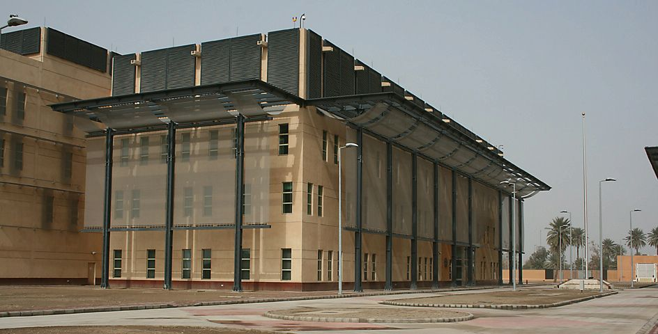 Main building inside the U.S. embassy compound in Baghdad, Iraq. Photo by U.S. State Department