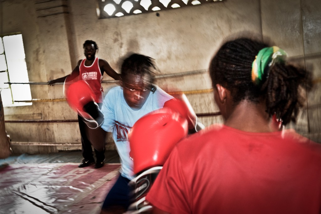 Sarah fights another professional boxer. Both are Box Girl graduates. Sarah is currently the feather-weight professional female boxing champion in East Africa. Photo by Mia Collis