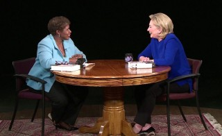 Gwen sat down with former Secretary of State Hillary Clinton Tuesday night in Denver. Photo by NewsHour