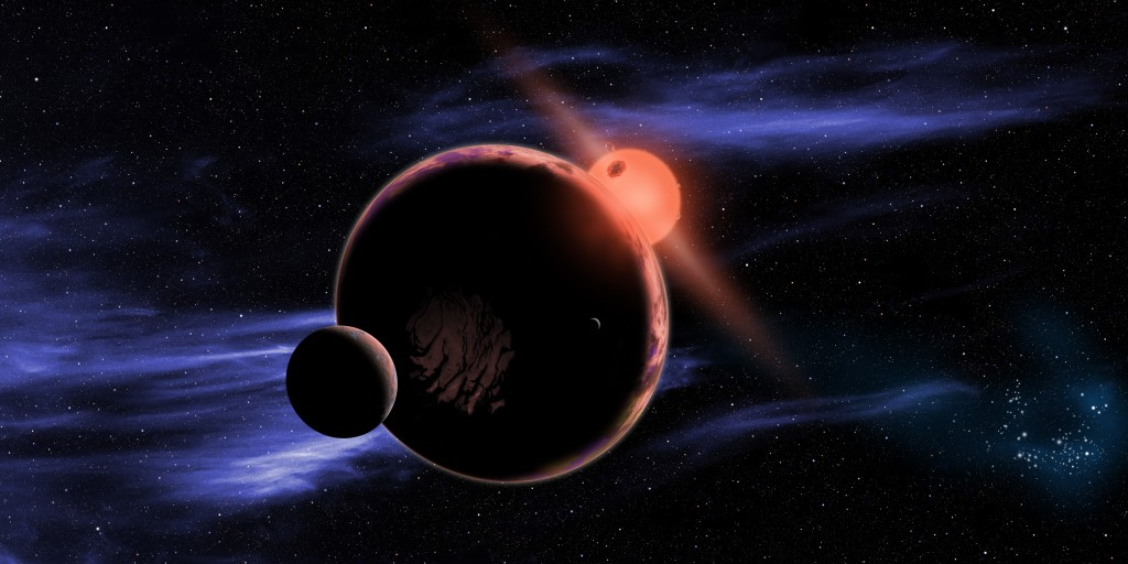 An artist's conception of a planet, with two moons, orbiting a red dwarf star. Image by NASA/Harvard-Smithsonian Center for Astrophysics/D. Aguilar