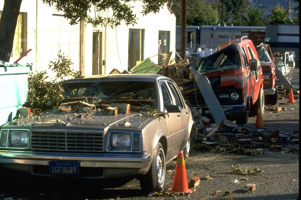Buildings and cars were destroyed in the 6.7 magnitude Northridge Earthquake on Jan. 17, 1994 . Seismologists have recorded a record number of earthquakes with a magnitude larger than 4.0 in Los Angeles in the last five months. Photo by Andrea Booher/FEMA News Photo