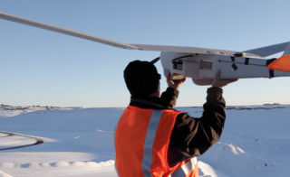 A Puma unmanned aircraft system is launched in Alaska. Photo courtesy of AeroVironment