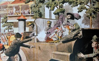The assassination of Franz Ferdinand and his wife, Sophie, as depicted in the French newspaper Le Petit Journal on July 12, 1914.