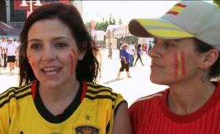Soccer fans Antonia Diventi and Eva Kaelber attend the Spain-El Salvador pre-World Cup match in Washington, D.C., on June 7. PBS NewsHour screen image