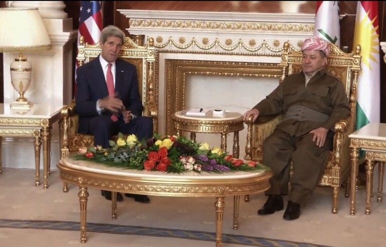 John Kerry with Kurdish regional government president Massud Barzani