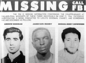 On June 21, 1964, three civil rights workers, Michael Schwerner, James Chaney and Andrew Goodman, went missing near Philadelphia, Miss., bringing nationwide attention to Mississippi and the Freedom Summer project. Photo courtesy of FBI via PBS