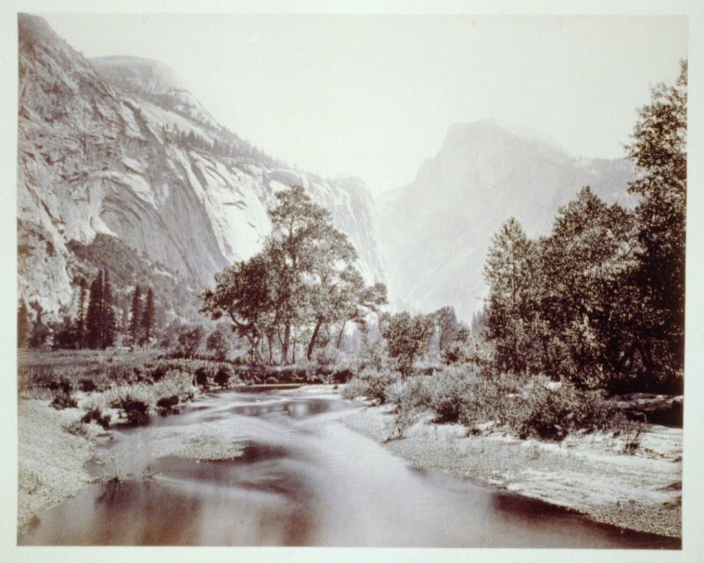 A view of the Domes in Yosemite National Park, photographed around 1865. Photo by Carleton E. Watkins