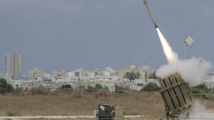 "A missile is launched by an ""Iron Dome"" battery, a short-range missile defence system designed to intercept and destroy incoming short-range rockets and artillery shells, on July 15, 2014 in southern Israeli. Photo by David Buimovitch/AFP/Getty Images"