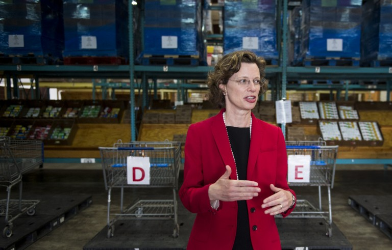 Democratic candidate for U.S. Senate Michelle Nunn tours the Second Harvest food bank in Valdosta, Ga., on April 17. Photo By Bill Clark/CQ Roll Call