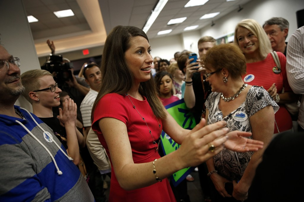 Kentucky Secretary of State Alison Lundergan Grimes campaigns for Senate in Louisville May 19. Grimes set a new state fundraising record of $4 million in the second quarter. Photo by Win McNamee/Getty Images