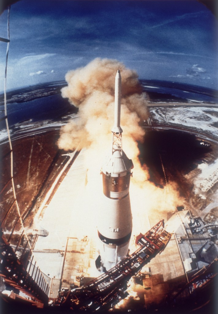 Apollo 11 launched from Pad A, Launch Complex 39 at the Kennedy Space Center in Florida. Photo by Space Frontiers/Hulton Archive/Getty Images.