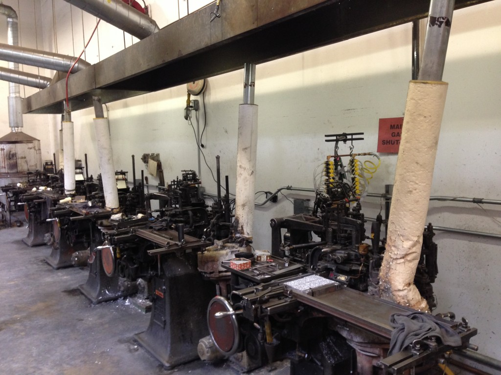 "Arion's Monotype Machines create lines of lead type used to create some of the pages in Arion's ""Leaves of Grass."" The oldest one in the Arion foundry is from 1915. Photo by Cat Wise/PBS NewsHour"