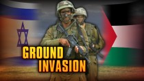 GROUND INVASION monitor israeli soldiers palestinian flags