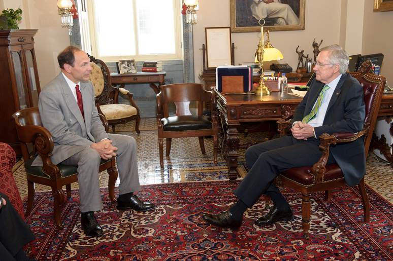 VA secretary nominee Robert McDonald with Senate Majority Leader Harry Reid on July 17, 2014. Photo by U.S. Senate
