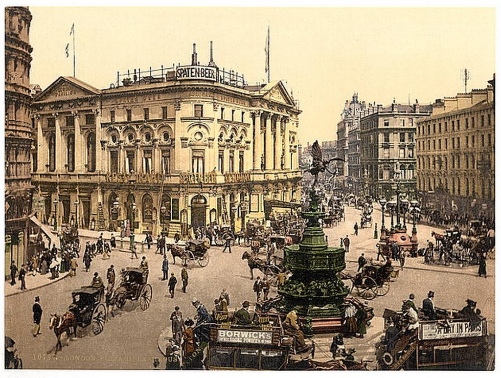 """England's economic success, beginning with the takeoff of the Industrial Revolution, can be explained by the """"survival of the richest,"""" argues Gregory Clark. Photochrom print of Piccadilly Circus, London, courtesy of the Library of Congress."""