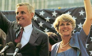 US. presidential candidate Walter Mondale and vice presidential candidate Geraldine Ferraro campaigning in 1984. Ferraro was the first woman to be placed on a major party's national ticket. Photo via the Library of Congress