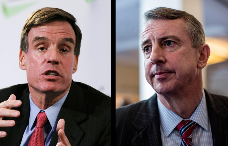 Sen. Mark Warner and Republican Ed Gillespie will face off Saturday in their first debate for the Virginia Senate seat. Photos by Peter Foley/Bloomberg and Melina Mara/The Washington Post