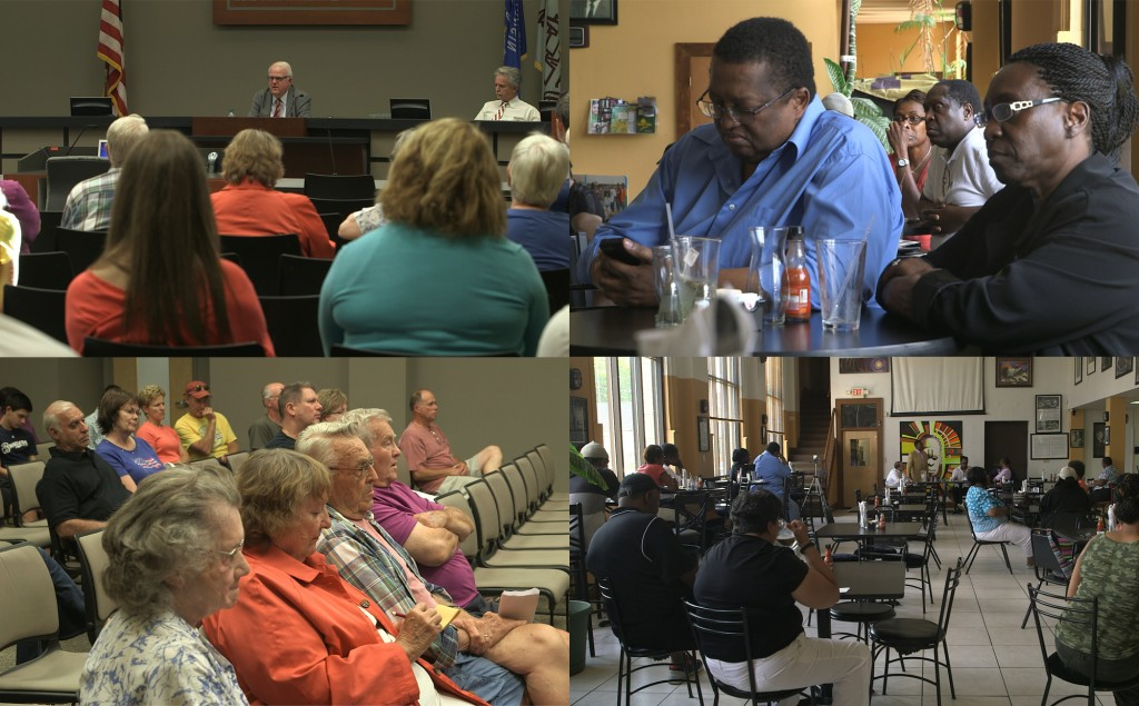 """The audience listens to Rep. James Sensenbrenner, R-Wis., at a town hall meeting in Menomonee Falls, Wisconsin (L); residents attend an afternoon meeting at the urban café """"Coffee Makes You Black"""" in Milwaukee's Riverwest neighborhood July 13."""