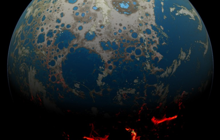 An artist's concept of the early Earth, battered by asteroids. Frequent impacts exposed liquid magma on parts of the planet, and water on the surface elsewhere. Courtesy: Simone Marchi