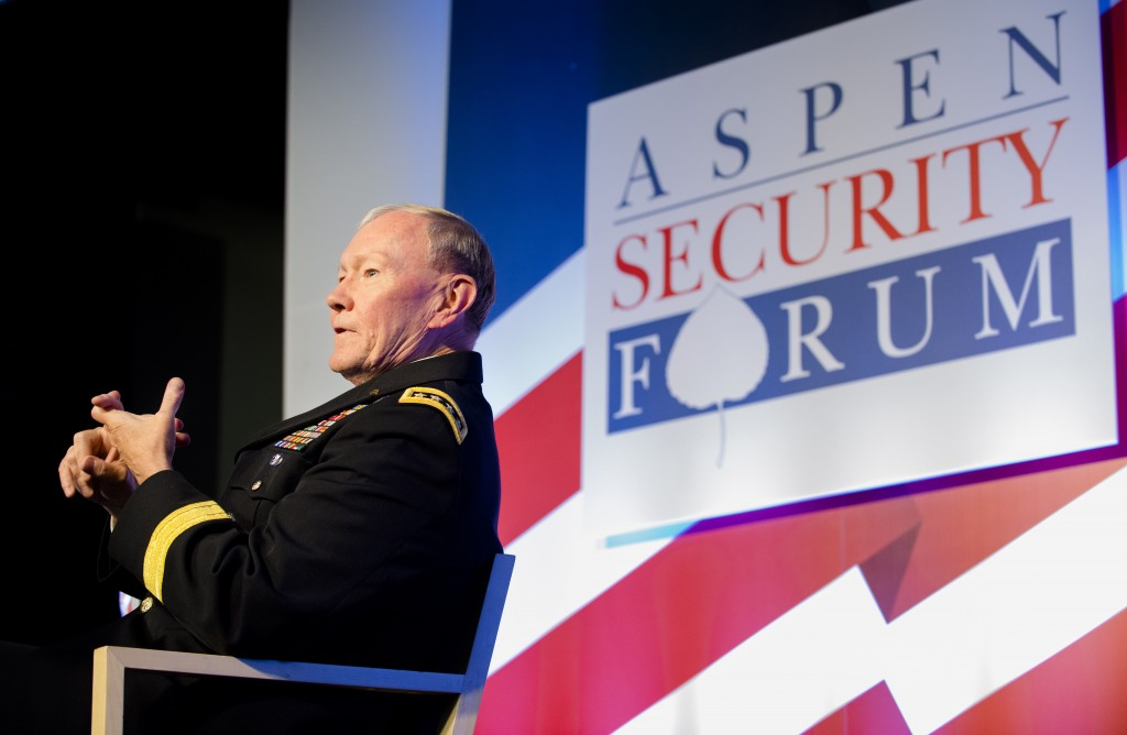 18th Chairman of the Joint Chiefs of Staff Gen. Martin E. Dempsey addresses the audience during the Aspen Security Forum, in Aspen, Colorado, July 24, 2014. The forum is held every summer on the campus of the Aspen Institute, an educational and policy studies organization. It consists of panel discussions as well as in-depth conversations with leaders involved in security issues across government. DoD photo by SSG Sean K. Harp, USA