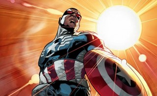Marvel Comics announced Wednesday that African-American superhero Falcon will take over as Captain America in a new comic book series debuting in the fall. Image courtesy of Marvel