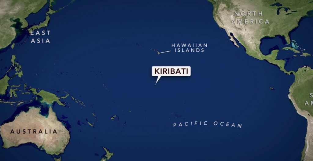 The Australian Tidal Center estimates that the Pacific island nation of Kiribati sinks further into the ocean 3.7 millimeters every year.