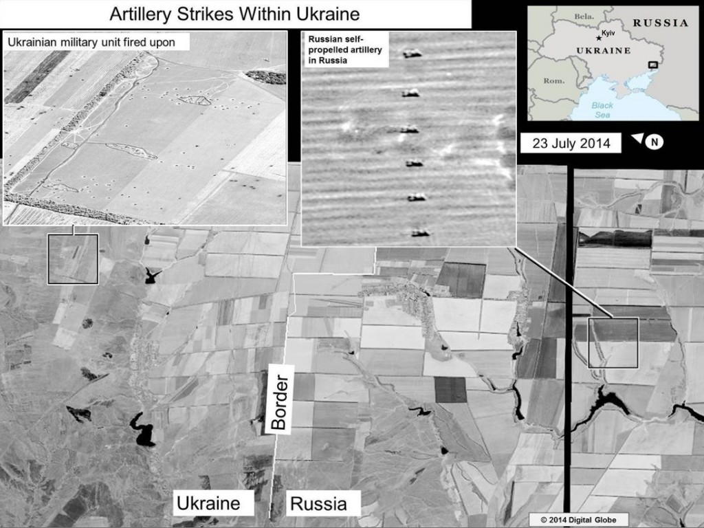 U.S. State Department releases satellite images it claims prove Russia fired artillery into Ukraine.