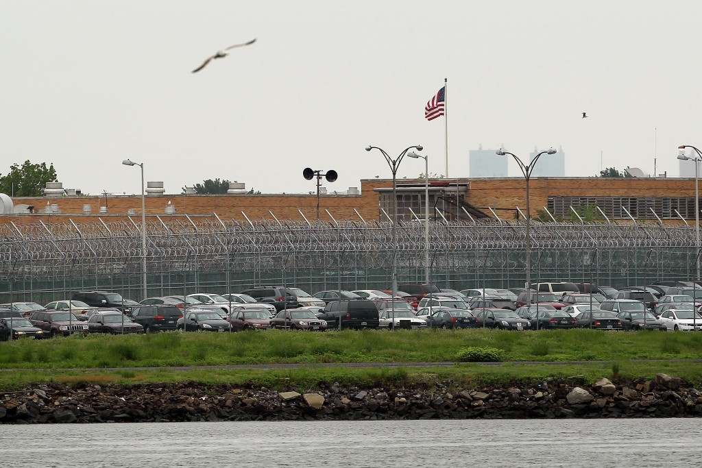 File photo of the Rikers Island jail complex in New York. Photo by Spencer Platt/Getty Images