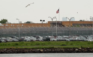 File photo of the Rikers Island prison complex in New York. Photo by Spencer Platt/Getty Images