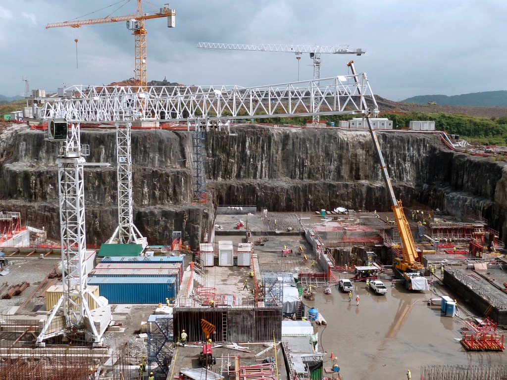 Construction underway on new locks in the Panama Canal in 2011. Photo by Juan Jose Rodriguez/AFP/Getty Images