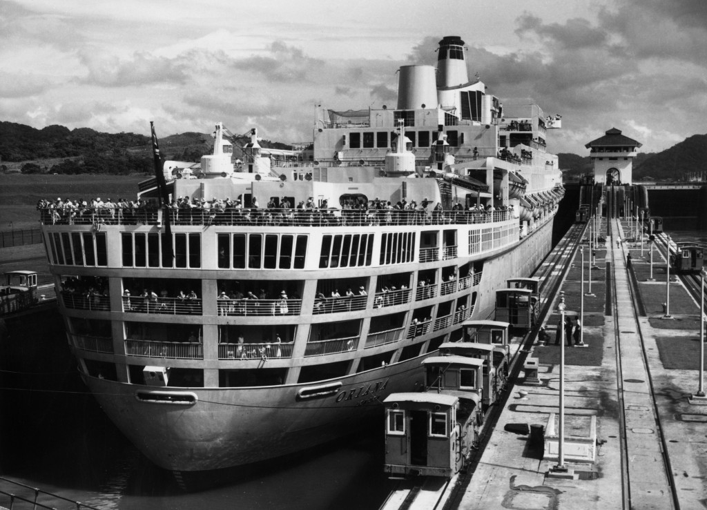 The first P&O Orient liner Oriana returns to Southampton after her maiden voyage to the Panama Canal in 1961. She was the largest vessel to pass through the canal since the German liner Bremen in 1939. Photo by Central Press/Getty Images