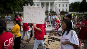 Immigration reform groups march outside the White House calling on President Obama for immigration reform and to stop deportations on July 16. Photo By Bill Clark/CQ Roll Call