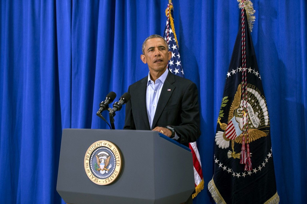 President Obama makes a statement about the execution of American journalist James Foley at the press filing center at the Edgartown School Wednesday in Martha's Vineyard. Photo by Rick Friedman-Pool/Getty Images