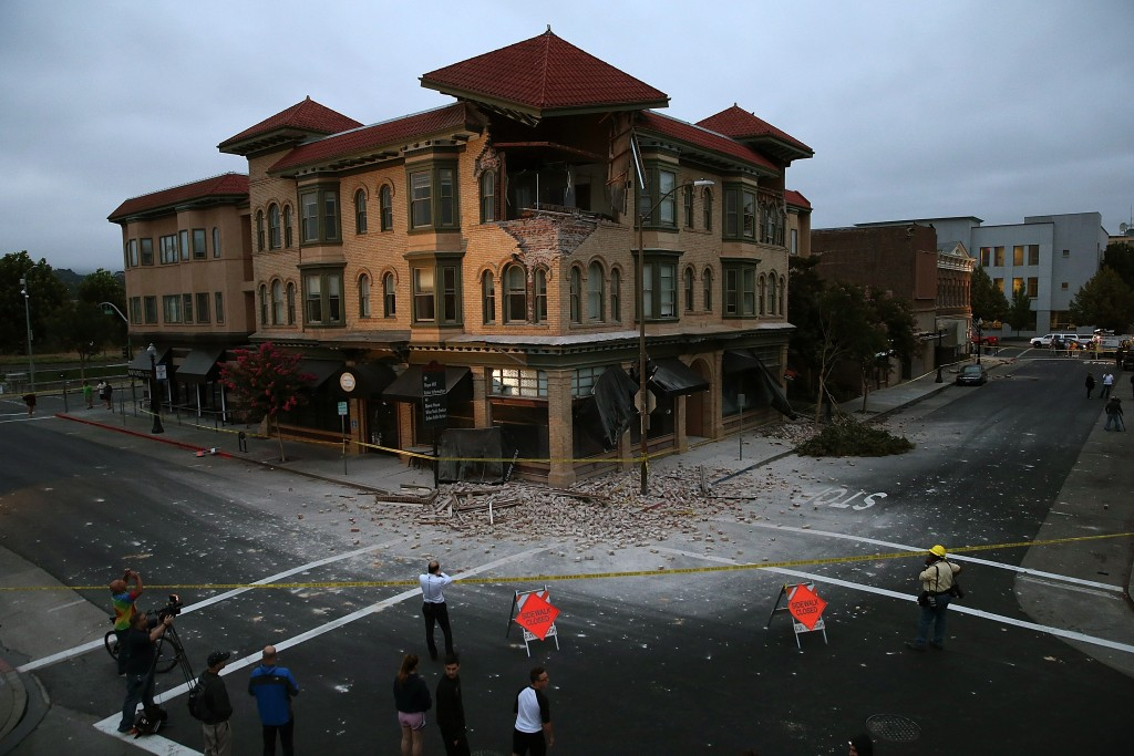 NAPA, CA - AUGUST 24:  A building is seen destroyed following a reported 6.0 earthquake on August 24, 2014 in Napa, California.  A 6.0 earthquake rocked the San Francisco Bay Area shortly after 3:00 am on Sunday morning.  (Photo by Justin Sullivan/Getty Images)