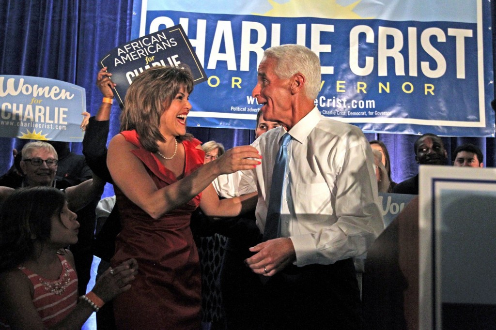 Charlie Crist hugs his running mate Annette Taddeo-Goldstein as they win the Democratic primary for the Florida governor's race Aug. 26.  Photo by Charles Trainor Jr./Miami Herald/MCT via Getty Images