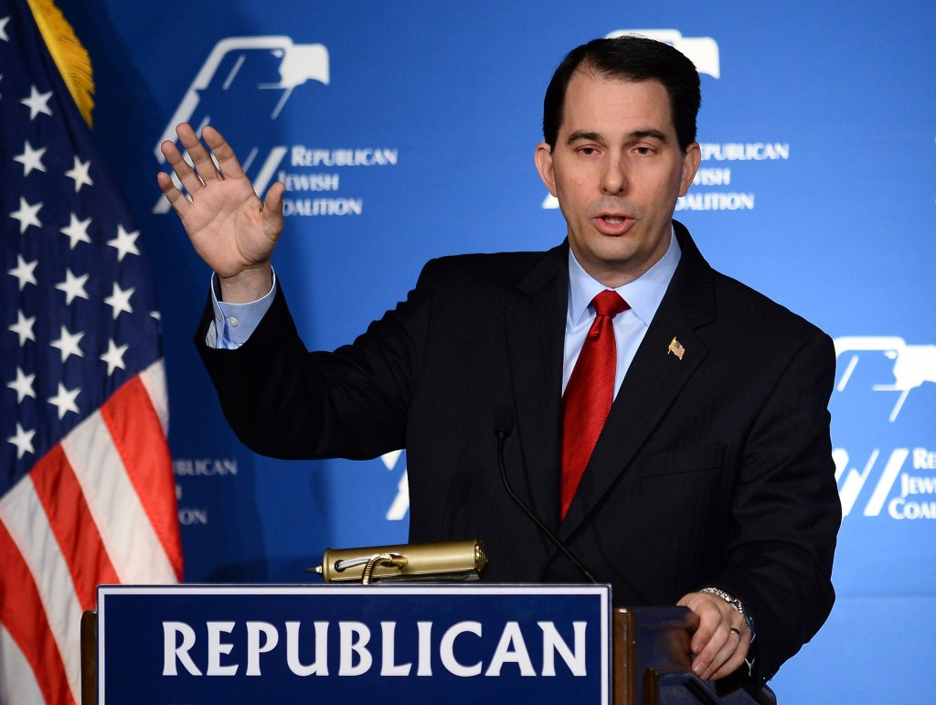 Wisconsin Gov. Scott Walker speaks during the Republican Jewish Coalition spring leadership meeting on March 29 in Las Vegas. Photo by Ethan Miller/Getty Images