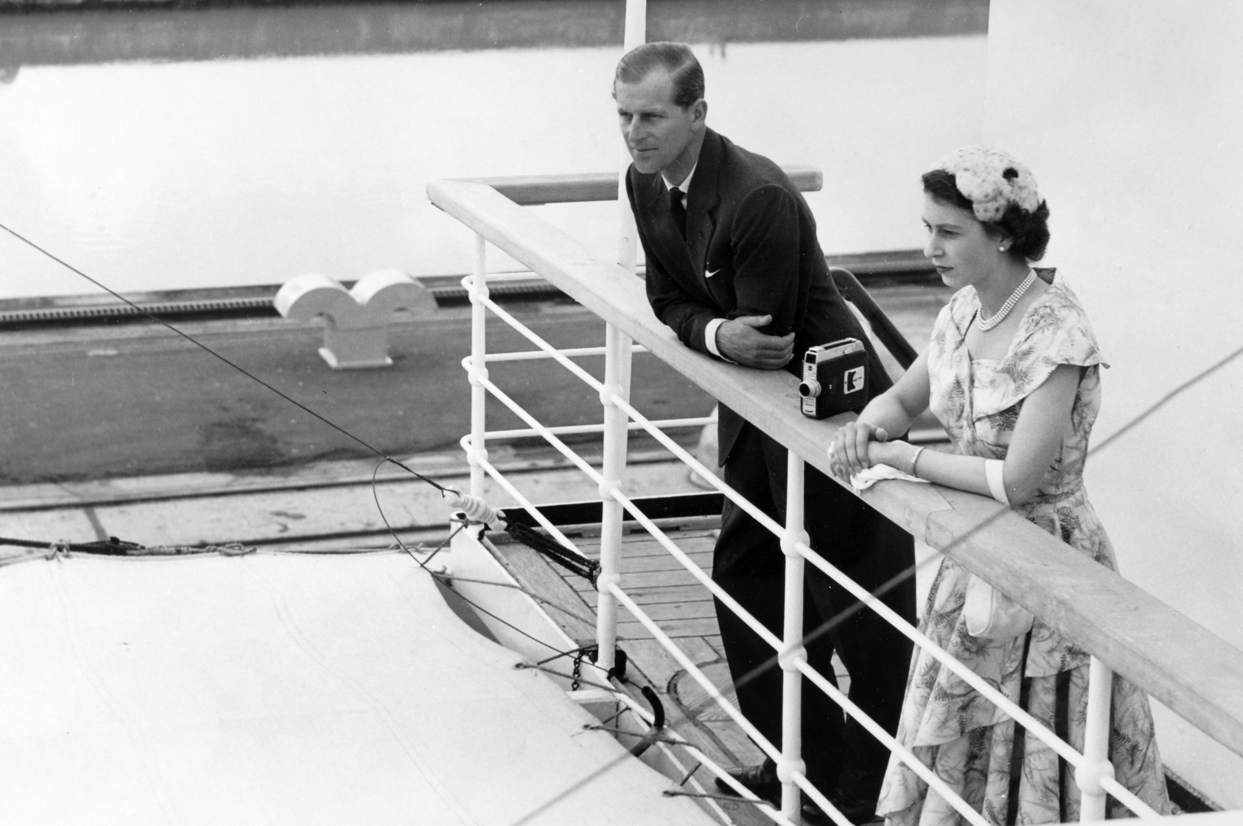 Queen Elizabeth II and the Duke of Edinburgh on board the Gothic as the ship negotiates the Miraflores locks in the Panama Canal on Dec. 3, 1953. Photo by Popperfoto/Getty Images