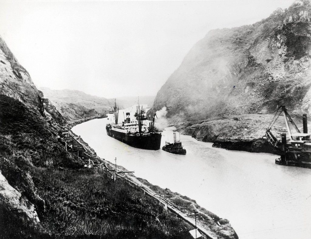The SS Ancon, the first Ship to pass through the Panama Canal on August 15, 1914. Photo by Getty Images