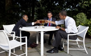 Harvard University Professor Henry Louis Gates, left, Cambridge Police Sgt. James Crowley, center,  and President Barack Obama drink beer in the Rose Garden at the White House on  July 30, 2009. President Obama has not shied away from adding his voice to racially charged events across the nation. Photo by Pete Souza/White House via Getty Images