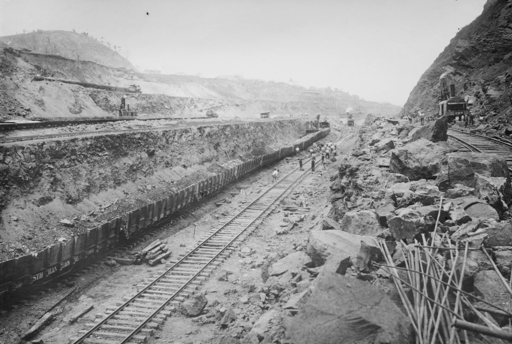 Steam shovels load rocks blasted away onto twin tracks that remove the earth from the Panama Canal bed circa 1908. It took the United States 10 years to build the canal at a cost of $375 million (which equals about $8.6 billion today). Photo by Buyenlarge/Getty Images