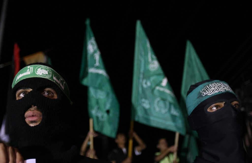 File photo of masked members of the Islamist Hamas movement demonstrating against Israel in Gaza City on Oct. 25, 2009. Photo by Mahmud Hams/AFP/Getty Images