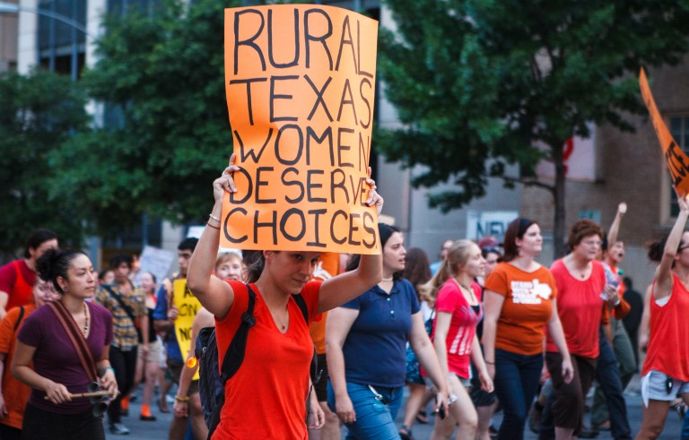 Texans protest regulations on abortion clinics in 2013.  Photo by Flickr user mirshasha